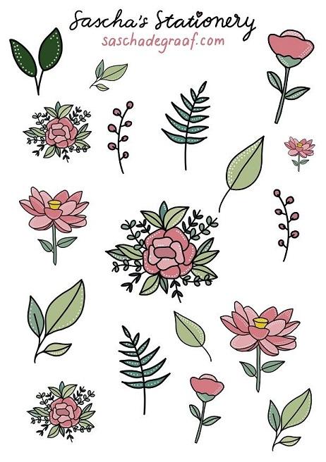 stickers bloemen roze